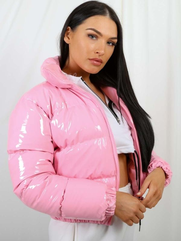 Emilia PVC Leather Cropped Puffer Jacket In Pink