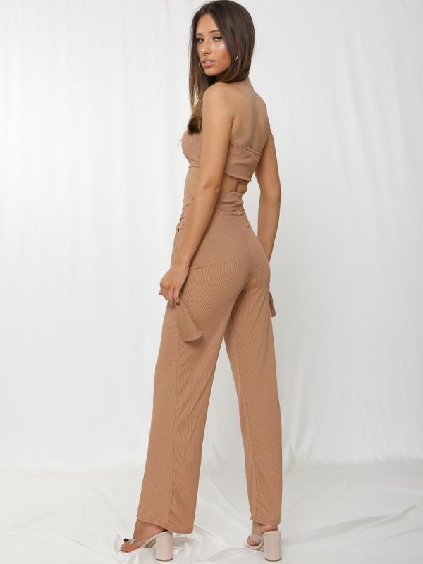 Chaima Ribbed Bandeau Crop Top & Tie Knot Trouser Co-ord In Camel