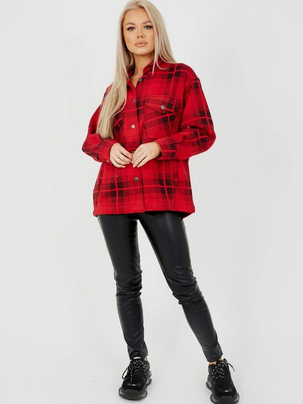 Colette Classic Thick Colour Block Shacket In Red