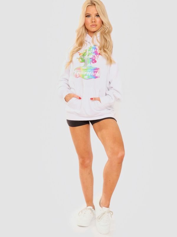 Mariah Distorted Graphic Fleeced Hoodie In White
