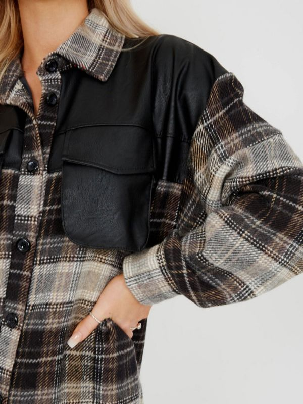 Belle PU Detail Oversized Thick Checked Shacket In Grey