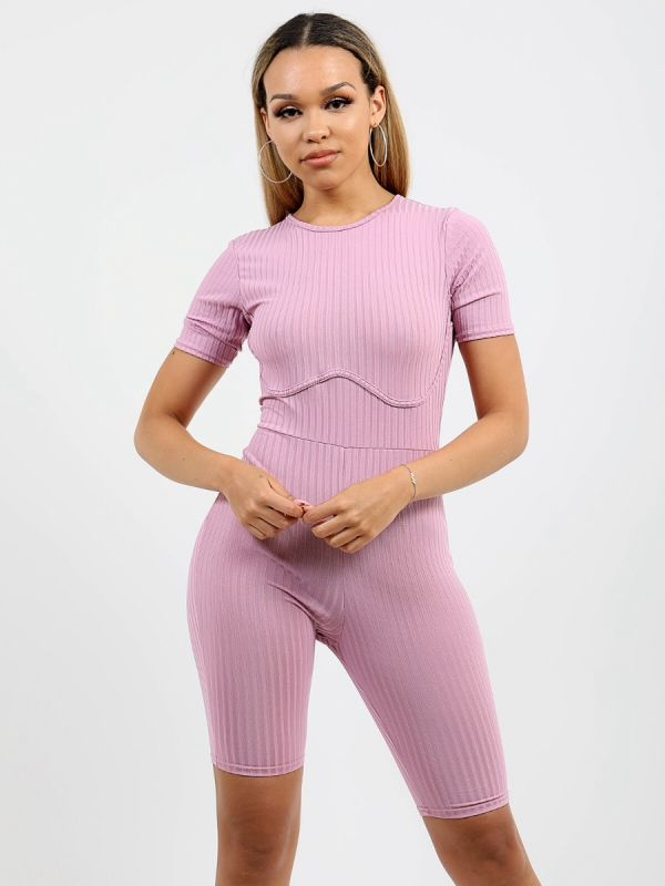 Aly Ribbed Corset Unitard Cycling Playsuit In Lilac