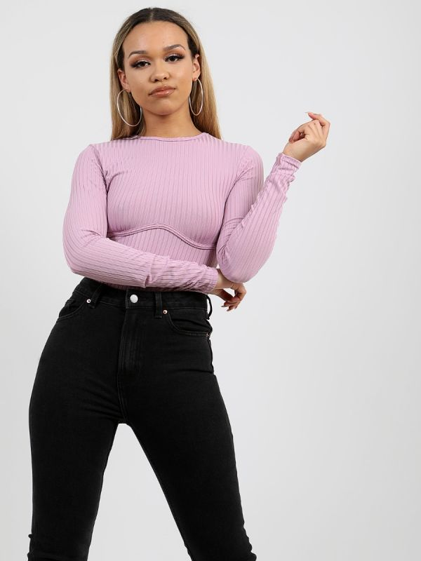 Ellie Ribbed Corset Detail Bodysuit In Lilac