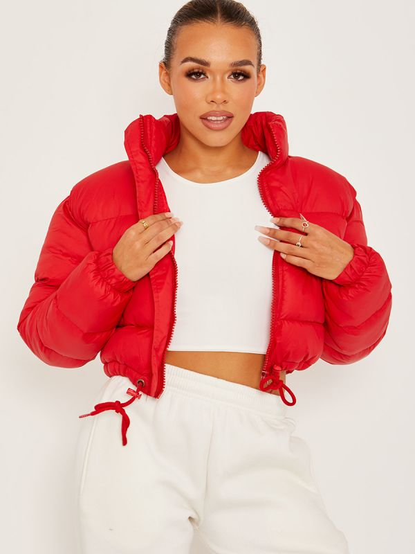 Dora Cropped Puffer Jacket In Red