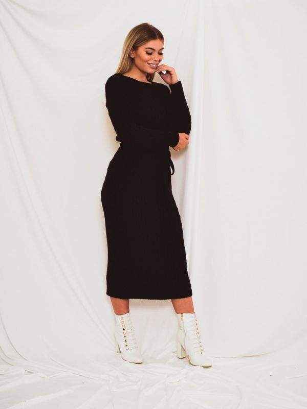 Leora Cable Knit Drawstring Waist Dress In Black