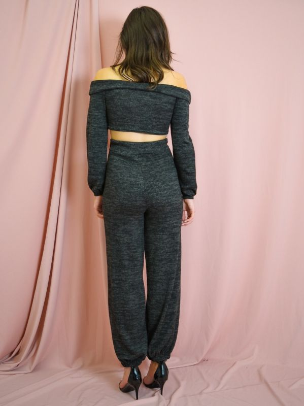 Hazel Knitted Fabric Bardot Top & Jogger Co-ord In Black