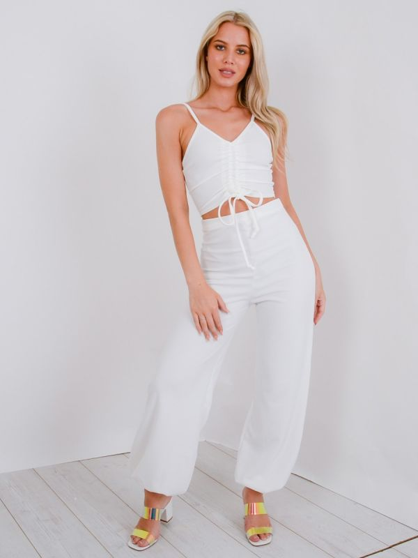 Miriam Ruched Cami Crop Top & Trouser Co-ord In White