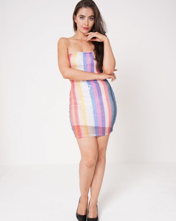 Royalty Coloured Striped Sequin Bandeau Dress In Multi