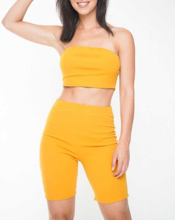 Lola Bandeau Crop Top & Cycling Shorts Co-ord In Mustard