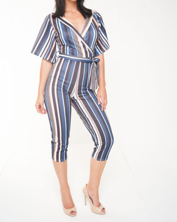 Mariah Wrap Front Multi Striped Culotte Jumpsuit In Navy