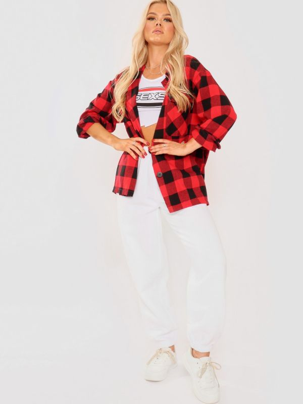 Tilly Oversized Button Up Tartan Check Shirt In Red