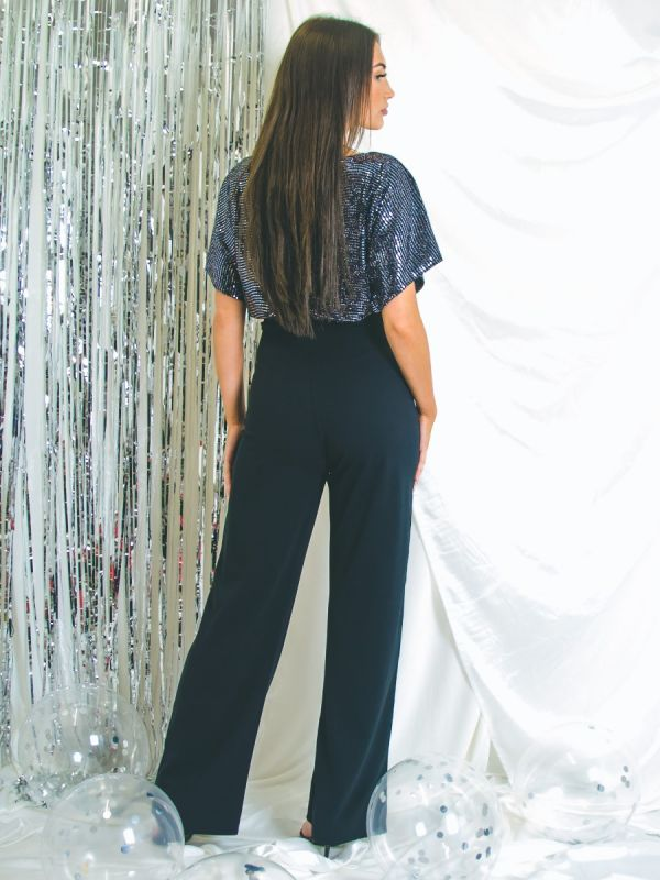 Leanna Balloon Waist Sequin Detail Belted Jumpsuit In Silver