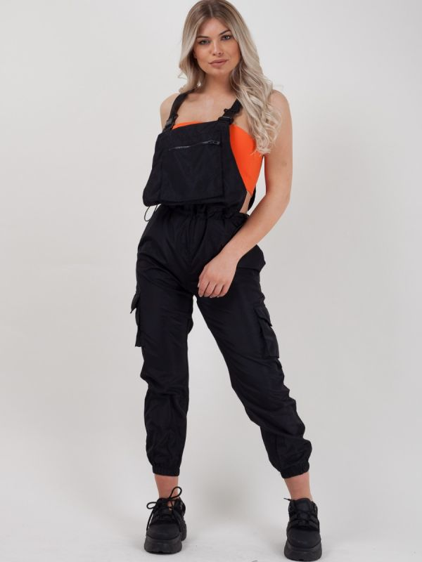 *Lissy Roddy* Gwendalin Shell Suit Festival Dungaree In Black