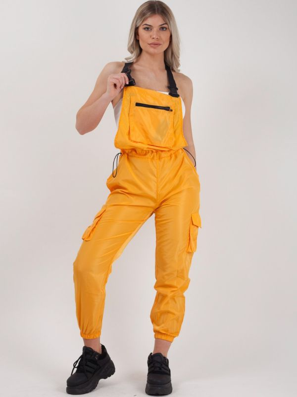 Gwendalin Shell Suit Festival Dungaree In Mustard