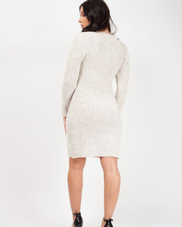 *Rosie Williams* Candace Button Front Knitted Bodycon Dress In Stone