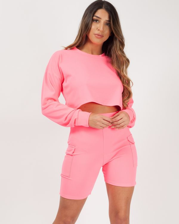 Kimmy New Crop Top & Pocket Shorts Co-ord In Neon Pink