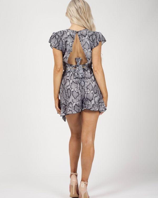 India Snake Print Frill Detail Co-ord In Grey