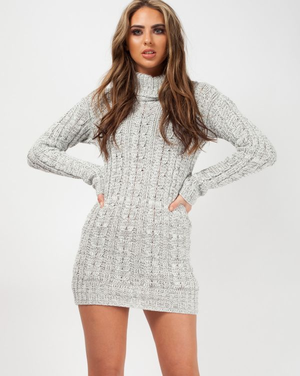 Connie Roll Neck Cable Knit Jumper Dress In Grey