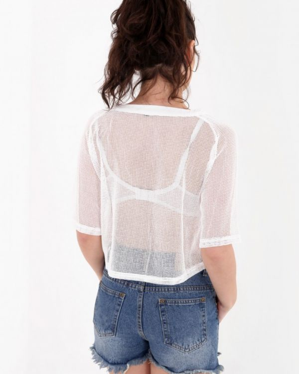 Asis Embroidered Fishnet Top In White