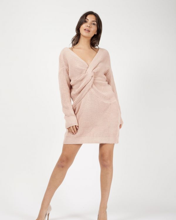 *Samira Mighty* Jamila Twist Front Knitted Jumper Dress In Nude