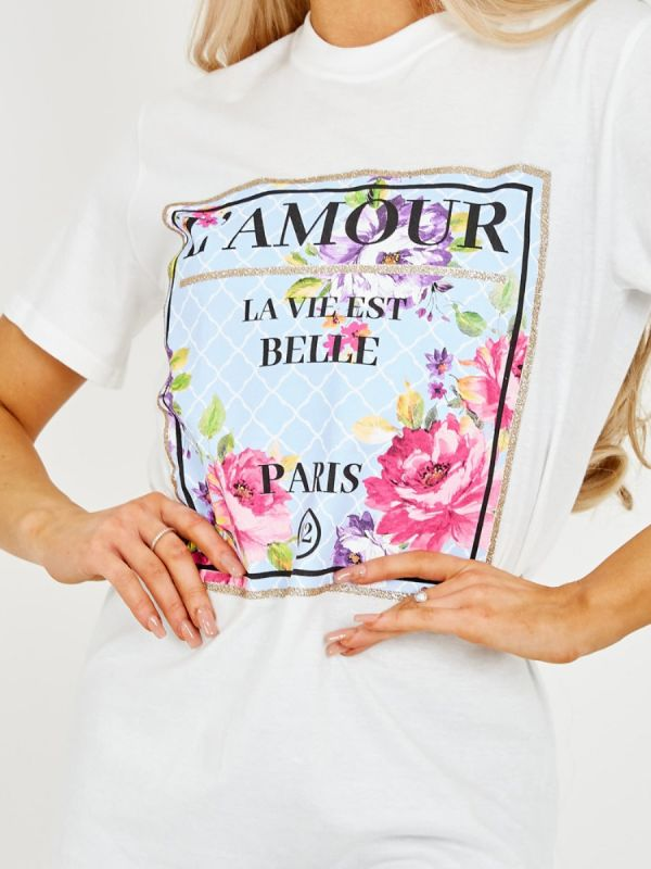 Edita Floral L'Amour Graphic Printed T-Shirt In White