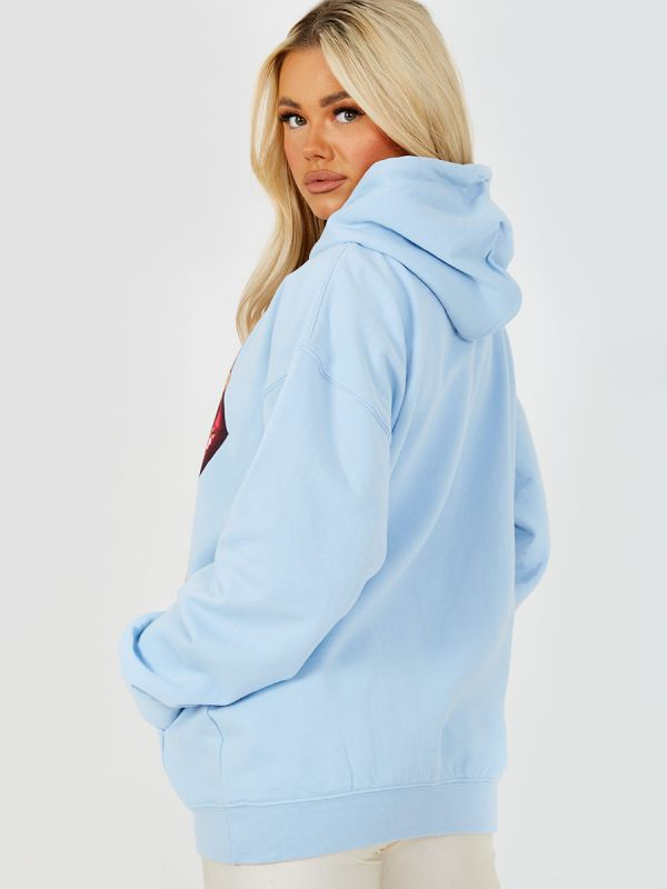 Kay Respect All Graphic Fleeced Hoodie In Blue