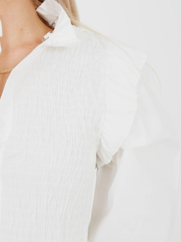 Julia Shirred Frill Detail Cropped Shirt Blouse In White