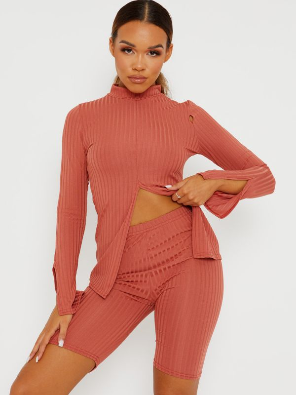 Sisi Split Front Ribbed Top & Cycling Shorts Co-ord In Rust