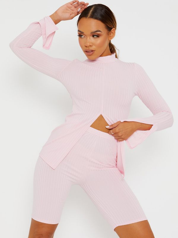 Sisi Split Front Ribbed Top & Cycling Shorts Co-ord In Pink