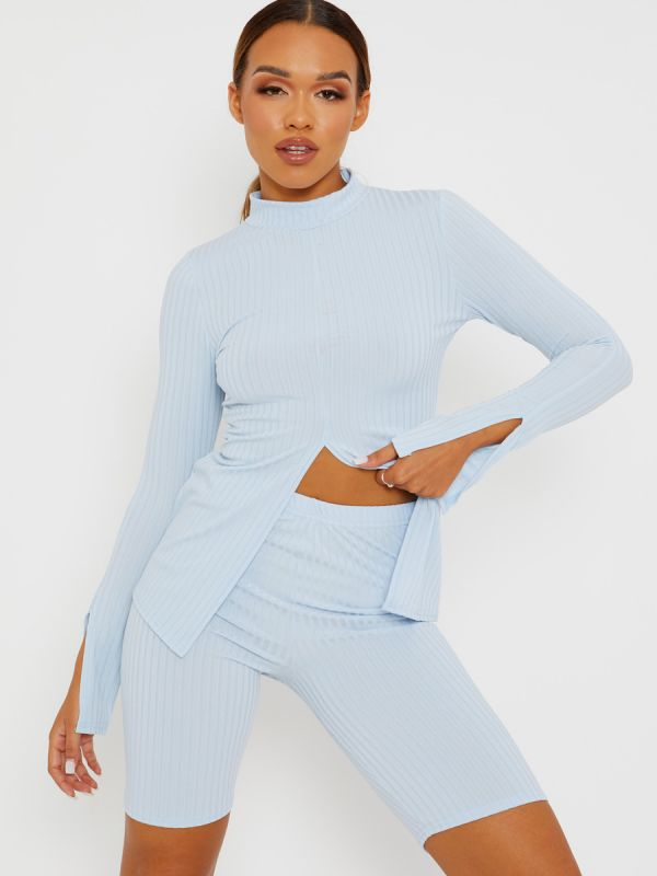 Sisi Split Front Ribbed Top & Cycling Shorts Co-ord In Blue