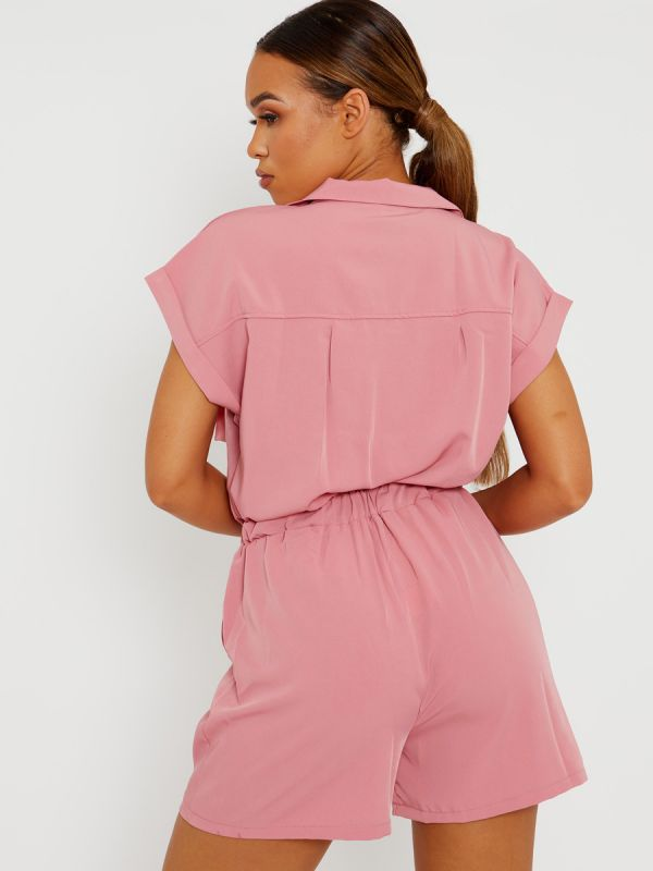 Amalie Utility Cargo Zipped Playsuit In Pink
