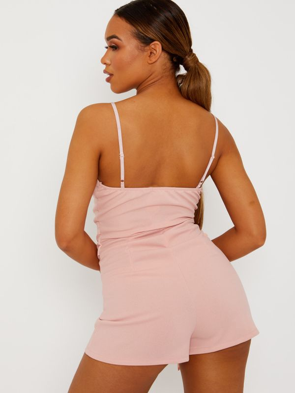 Lottie Pleated Detail Belted Cami Playsuit In Pink