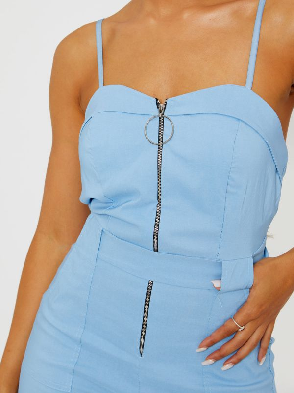 Keyra Zip Front Belted Cami Jumpsuit In Blue