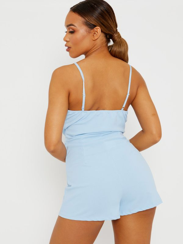 Lottie Pleated Detail Belted Cami Playsuit In Blue