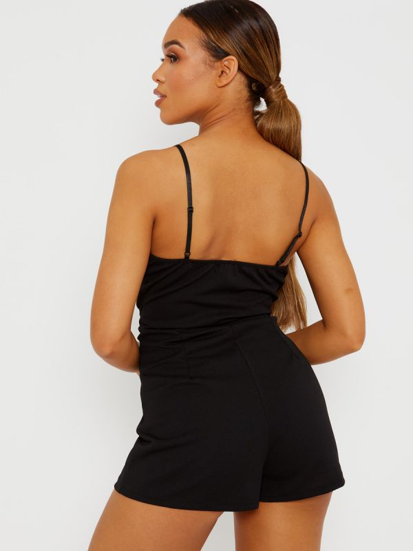 Lottie Pleated Detail Belted Cami Playsuit In Black