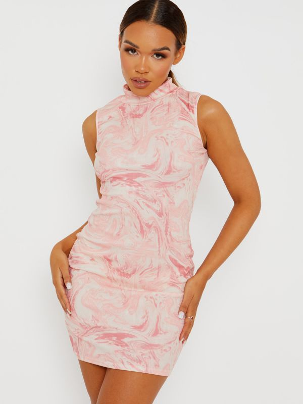 Tiffany Marble Effect Ribbed Tie-Dye Dress In Pink