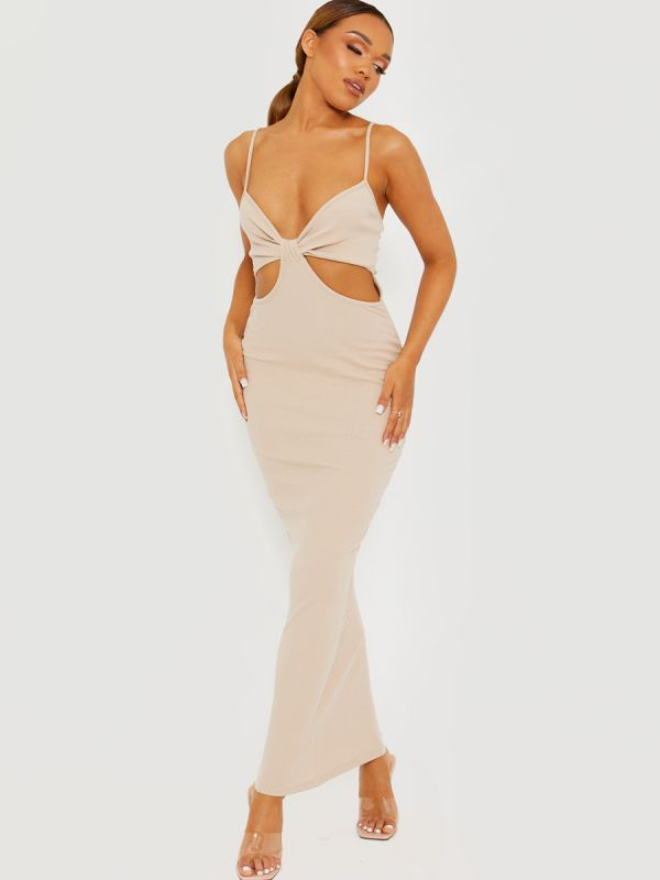 Corrine Cut Out Ribbed Cami Maxi Dress In Stone