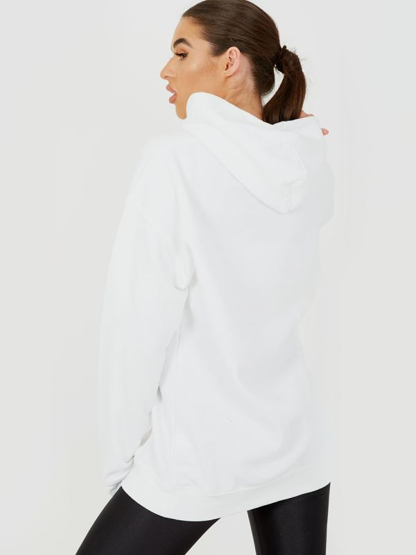 Kay Respect All Graphic Fleeced Hoodie In White