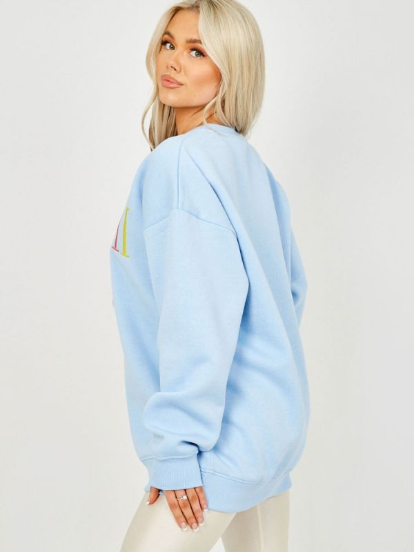 Nailah MIAMI Embroidered Oversized Sweatshirt Jumper In Blue