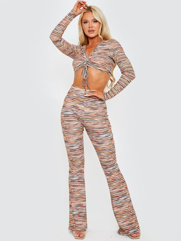 Lesley Multi Coloured Ruched Crop Top & Trouser Co-ord In Orange