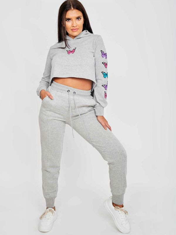 Paula Butterfly Graphic Print Cropped Hoodie In Grey