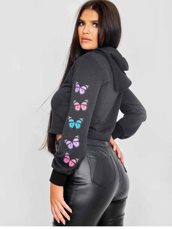 Paula Butterfly Graphic Print Cropped Hoodie In Black