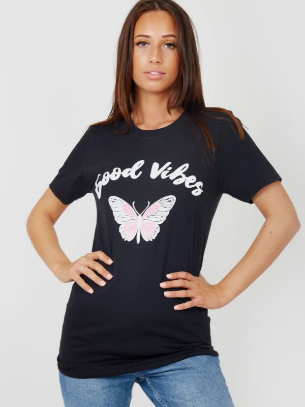 Carrie Good Vibes Butterfly Graphic Printed T-Shirt In Black